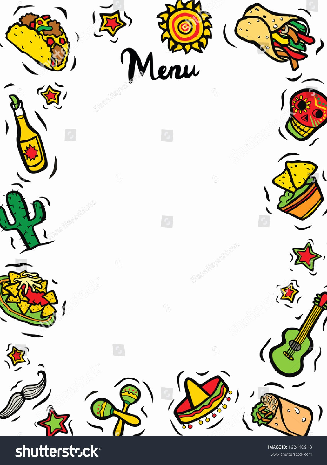 Mexican Restaurant Menu Template Unique Mexican Restaurant Ingre Nts Menu Template Stock