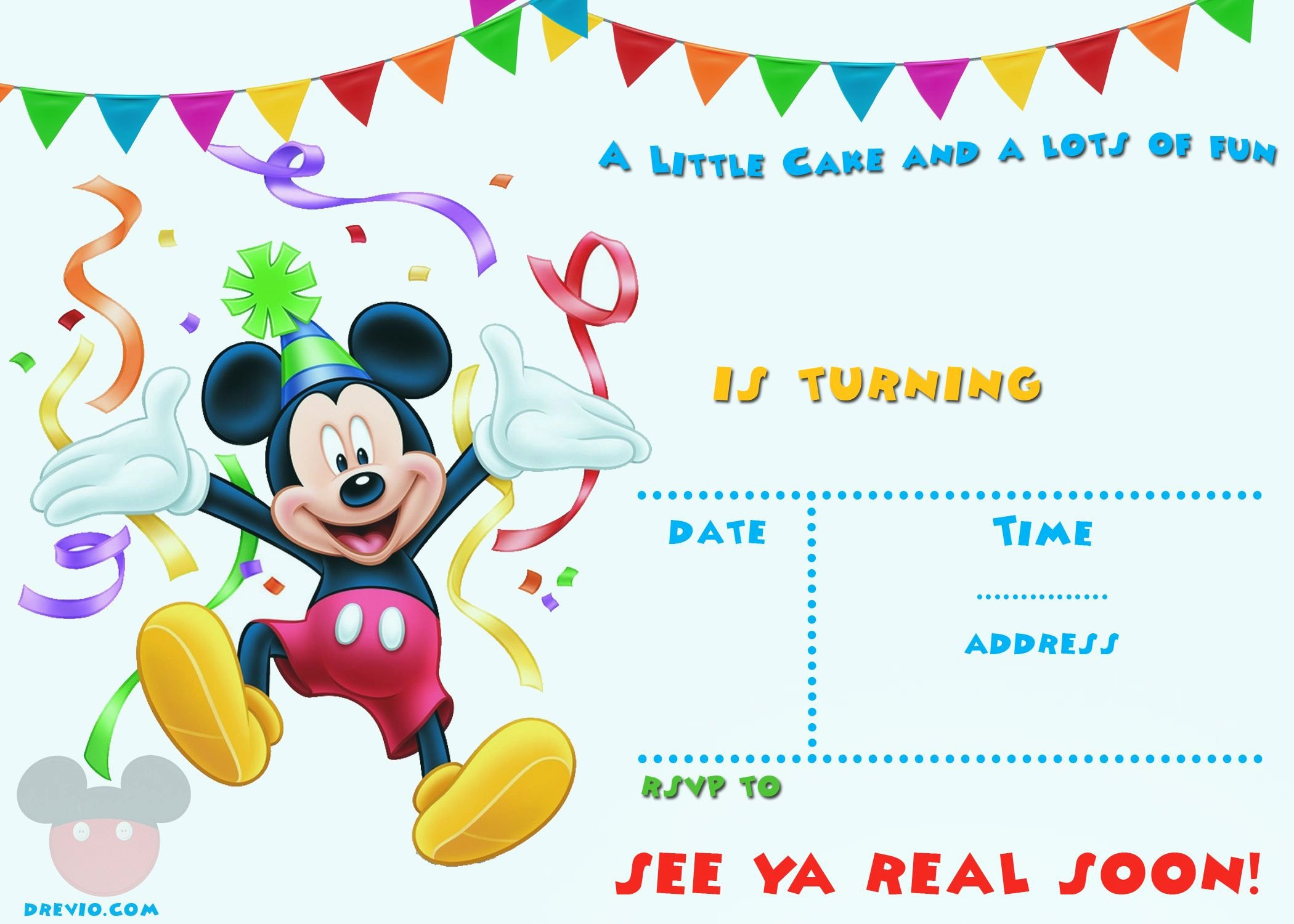 Mickey Mouse Invitation Template Awesome Free Printable Mickey Mouse Party Invitation