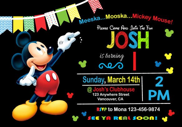 Mickey Mouse Invitation Template Best Of 49 Birthday Invitation Templates Psd Ai Word
