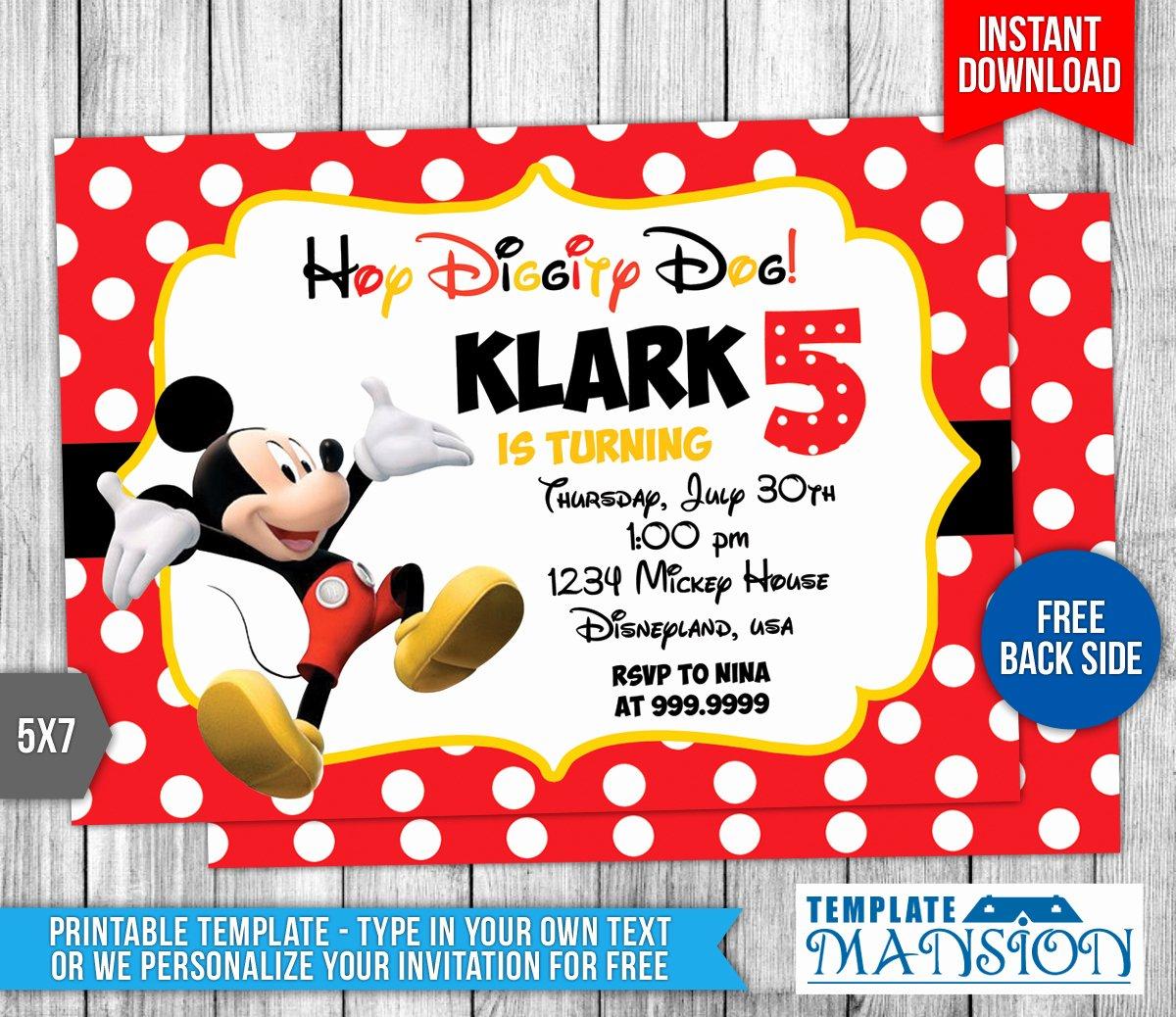 Mickey Mouse Invitation Template Elegant Disney Mickey Mouse Birthday Invitation by Templatemansion