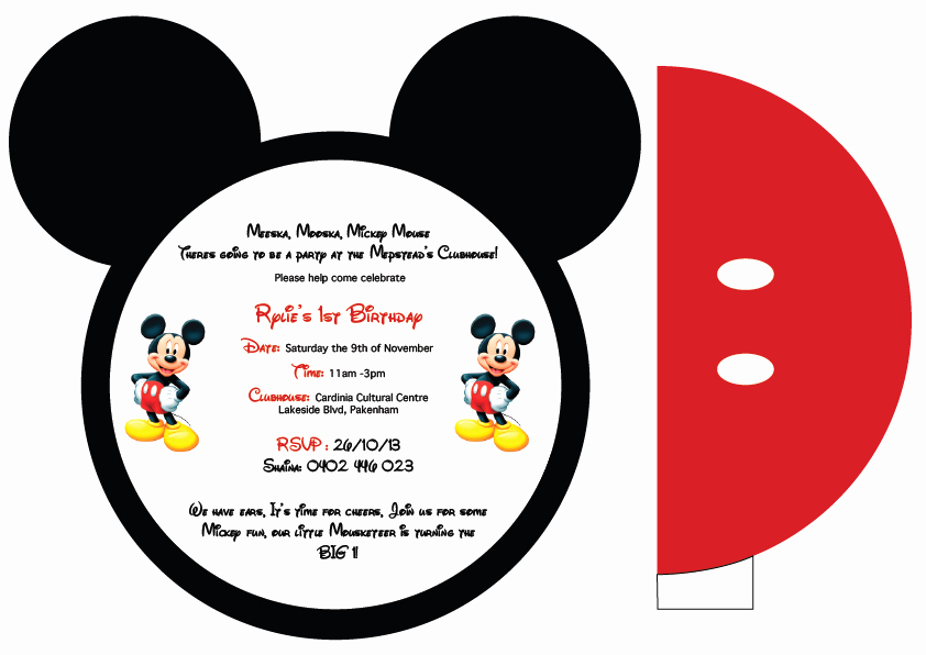 Mickey Mouse Invitation Template Elegant Mickey Mouse Printable Invitation Cards