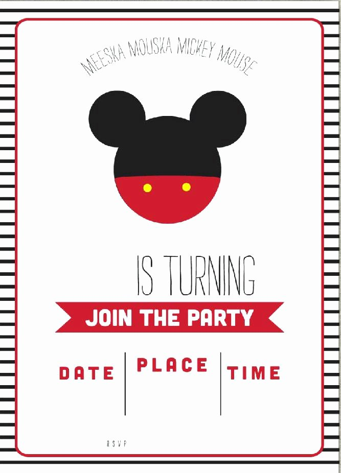 Mickey Mouse Invitation Template Fresh Free Mickey Mouse Invitation Template