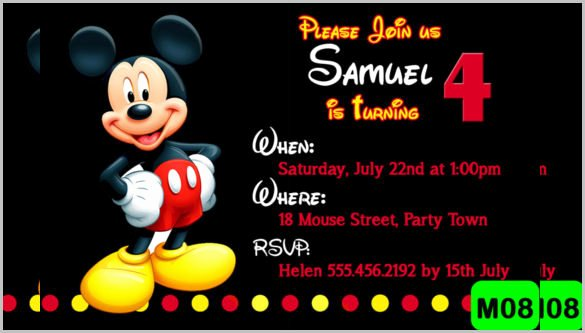 Mickey Mouse Invitation Template Lovely 15 Mickey Mouse Birthday Invitation Templates – Psd