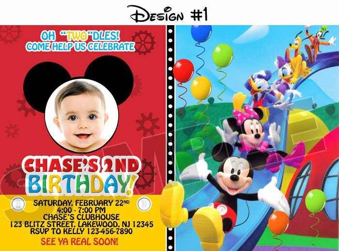 Mickey Mouse Invitation Template Lovely Free Mickey Mouse First Birthday Invitations Template