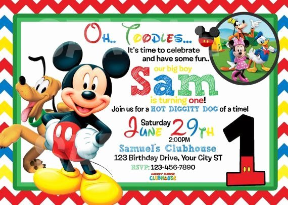 Mickey Mouse Invitation Template Lovely Mickey Mouse 1st Birthday