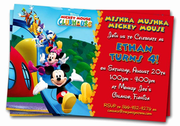 Mickey Mouse Invitation Template Luxury Free Mickey Mouse Clubhouse 1st Birthday Invitations