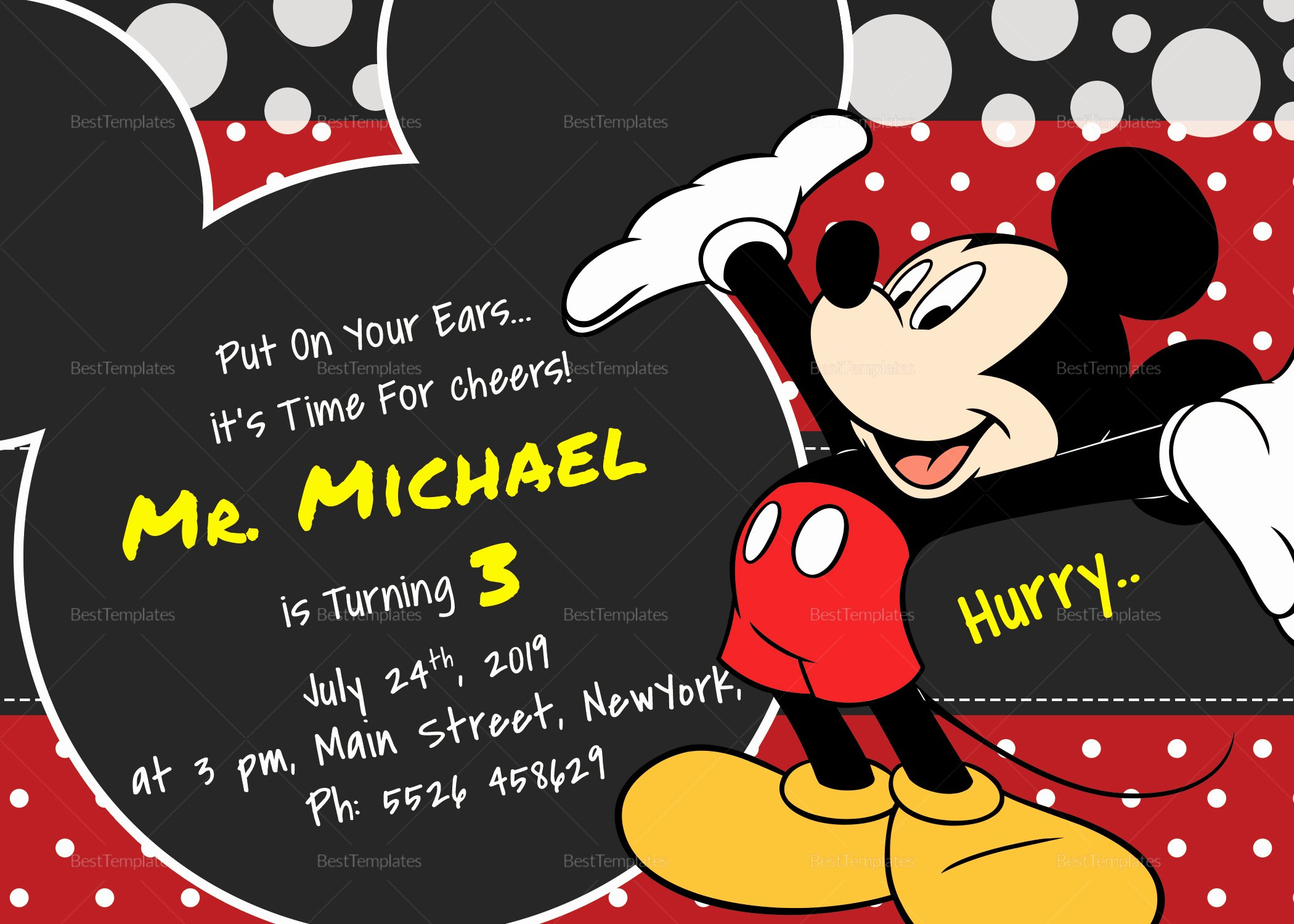 Mickey Mouse Invitations Template Awesome Delightful Mickey Mouse Birthday Invitation Card Design
