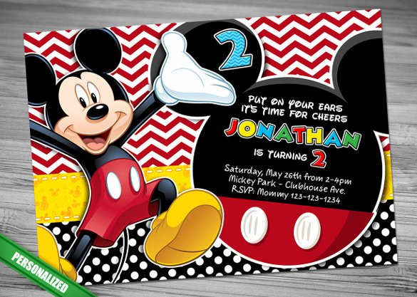 Mickey Mouse Invitations Template Awesome Mickey Mouse Invitation Template – 23 Free Psd Vector