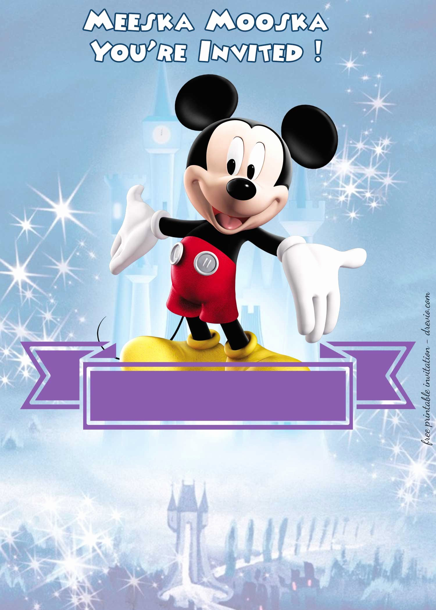 Mickey Mouse Invitations Template Beautiful Free Mickey Mouse Clubhouse – Disney Castle Invitation