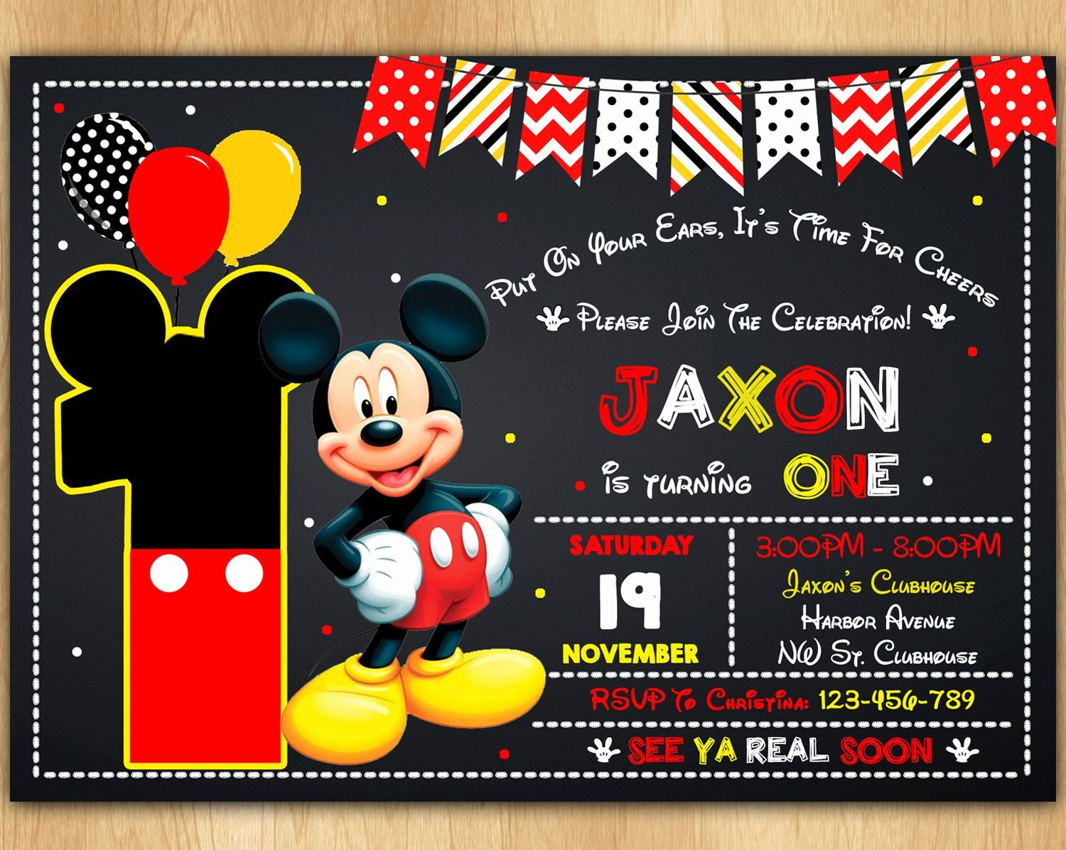 Mickey Mouse Invitations Template Beautiful Mickey Mouse Invitation Mickey Mouse Invite Mickey Mouse
