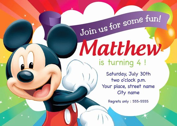 Mickey Mouse Invitations Template Best Of Mickey Mouse Birthday Invitation Card Printable Template