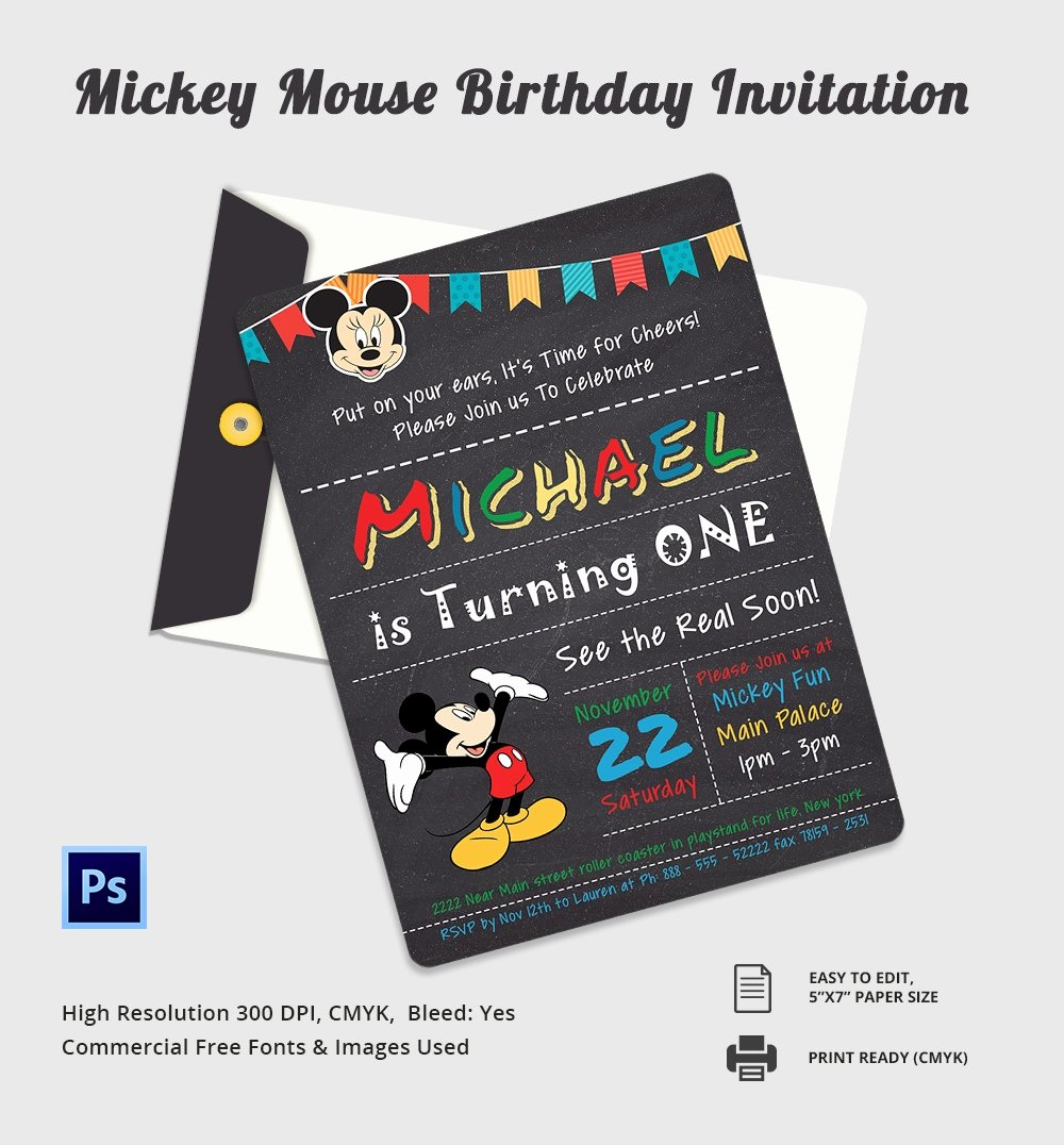 Mickey Mouse Invitations Template Best Of Mickey Mouse Invitation Template – 23 Free Psd Vector