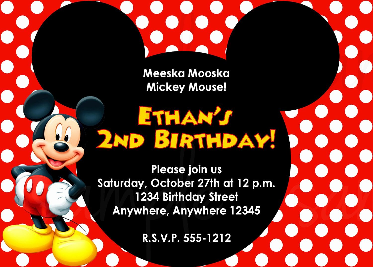 Mickey Mouse Invitations Template Elegant Birthday Invitation Mickey Mouse Birthday Invitations