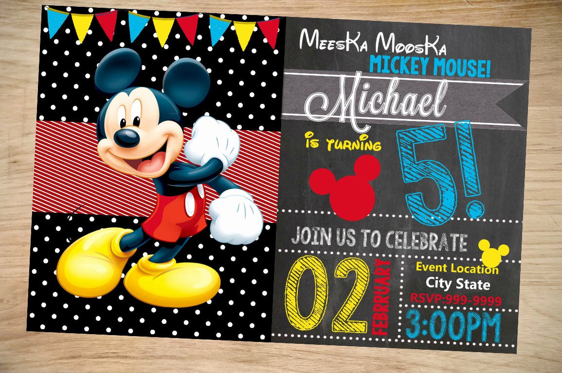Mickey Mouse Invitations Template Inspirational Mickey Mouse Birthday Invitation Birthday Invitation