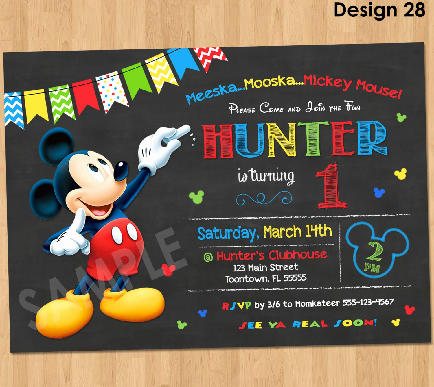 Mickey Mouse Invitations Template Lovely Mickey Mouse Birthday Invitation Mickey Mouse Clubhouse