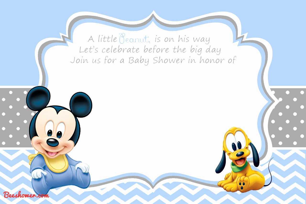 Mickey Mouse Invitations Template New New Free Printable Mickey Mouse Baby Shower Invitation