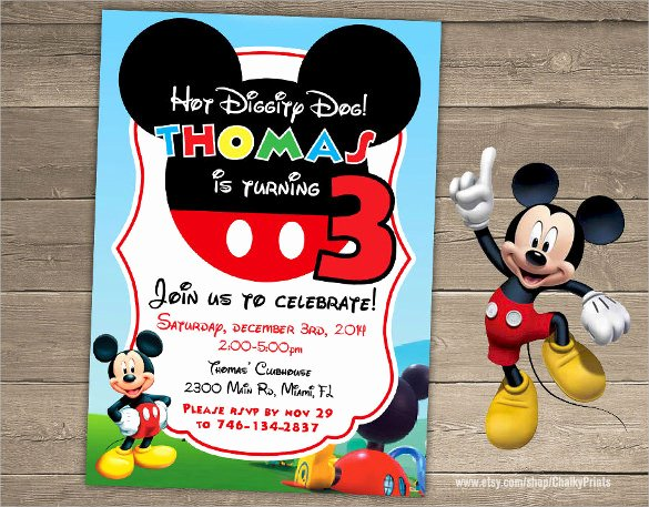 Mickey Mouse Invitations Template New Sample Mickey Mouse Invitation Template 13 Download