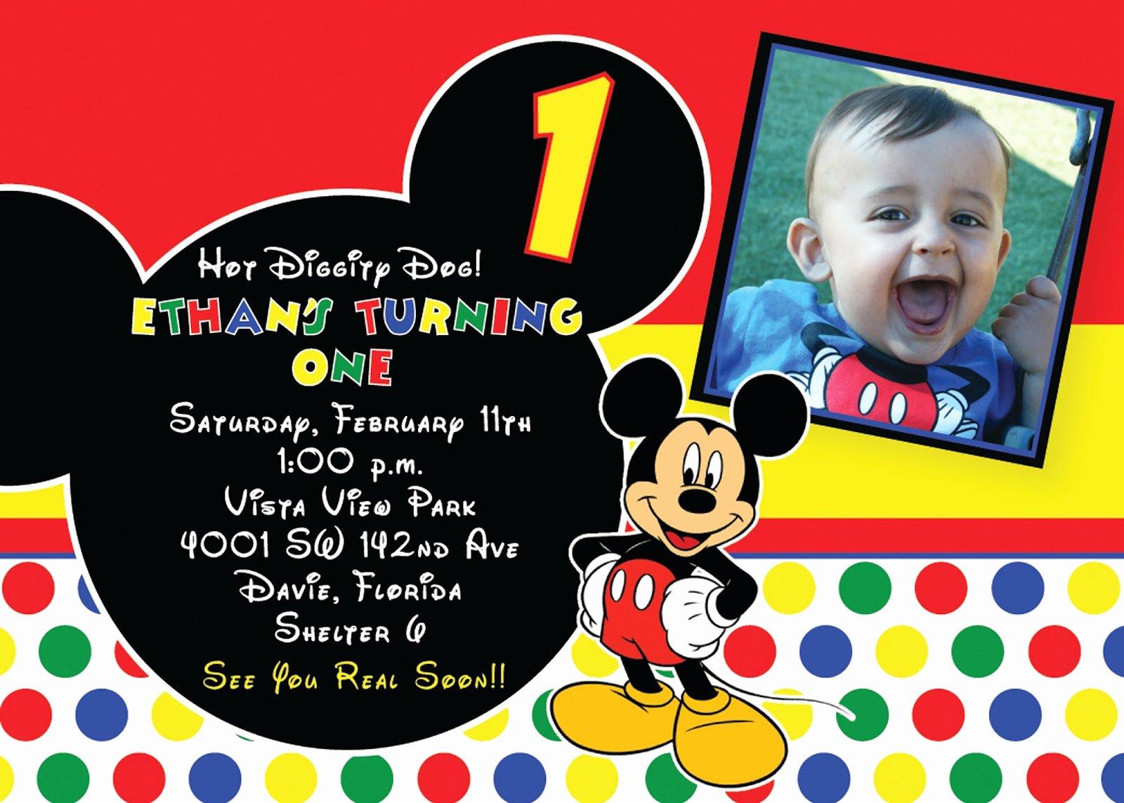 Mickey Mouse Invitations Template Unique Free Printable 1st Mickey Mouse Birthday Invitations