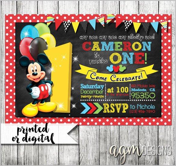 Mickey Mouse Invitations Template Unique Mickey Mouse Invitation Templates – 29 Free Psd Vector