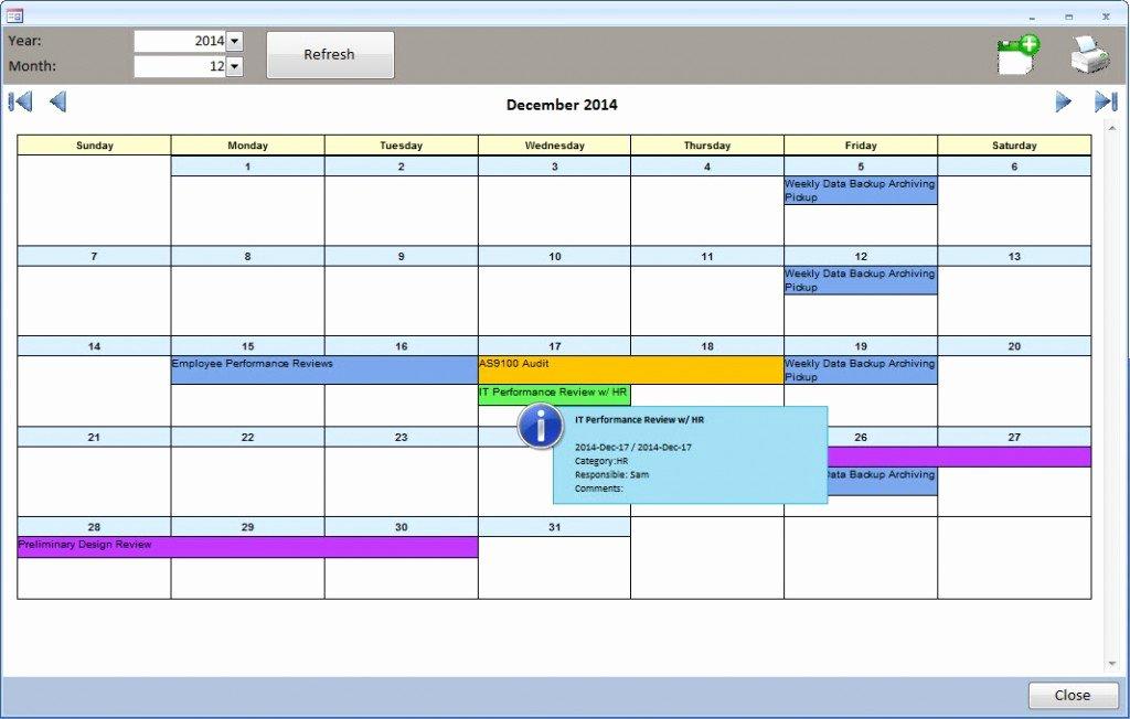 Microsoft Access Calendar Template Fresh Ms Access Task Scheduler event Calendar