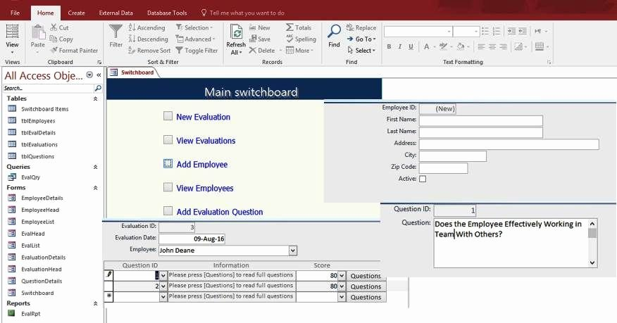 Microsoft Access form Template Beautiful Access Employee Performance Evaluation form Templates