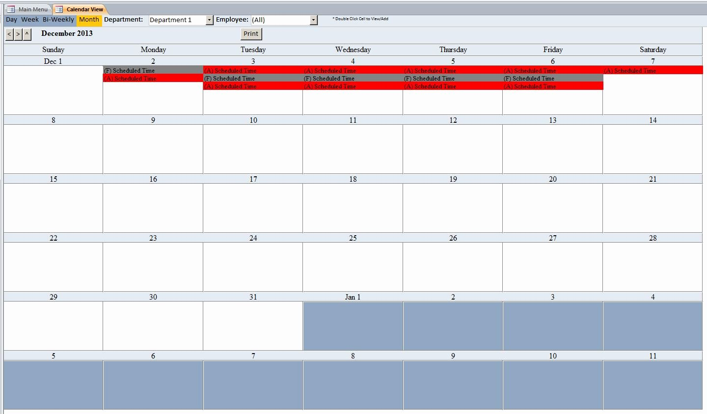 Microsoft Access Scheduler Template Best Of Employee Scheduling Database Template