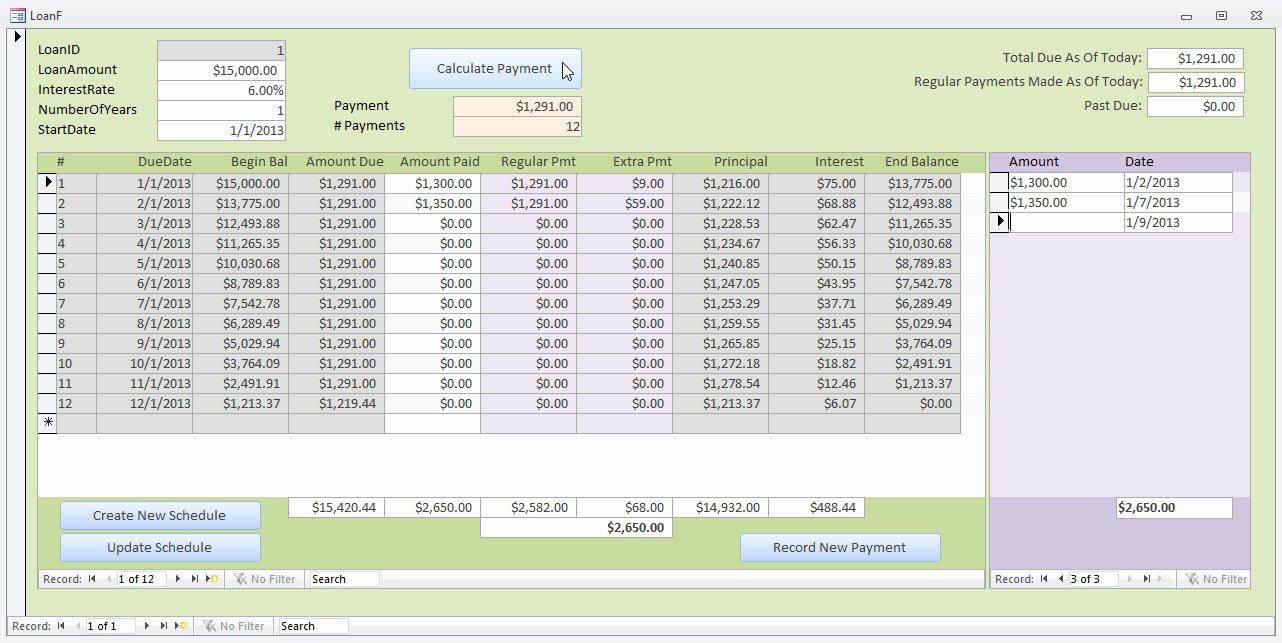 Microsoft Access Scheduler Template Fresh Microsoft Access Loan Amortization Template