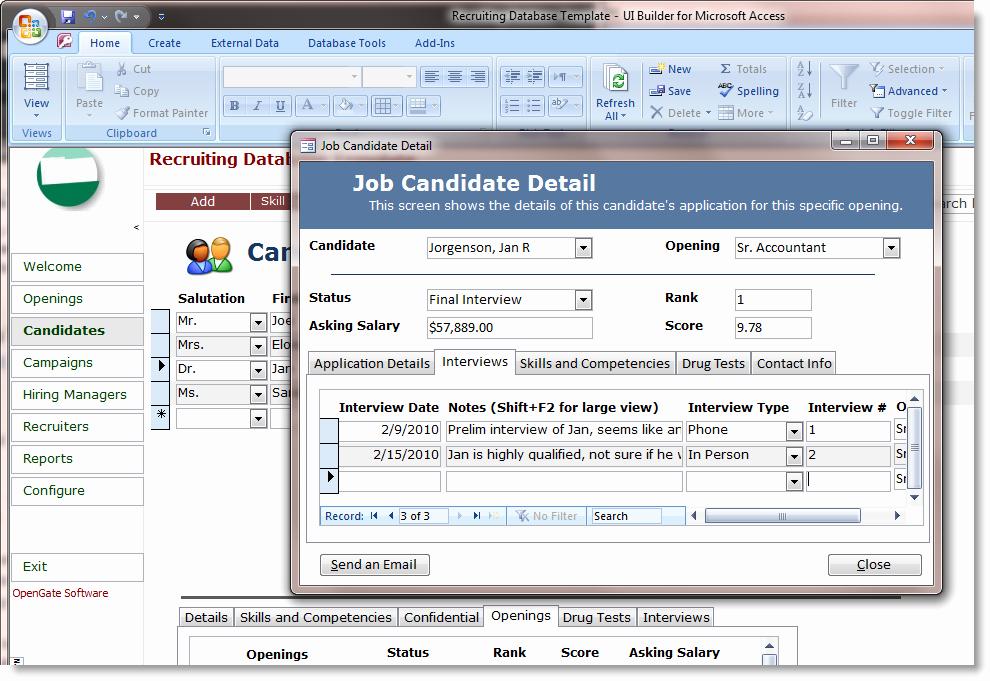 Microsoft Access Scheduler Template Unique Microsoft Access Employee Recruiting Template