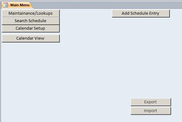 Microsoft Access Production Scheduling Database