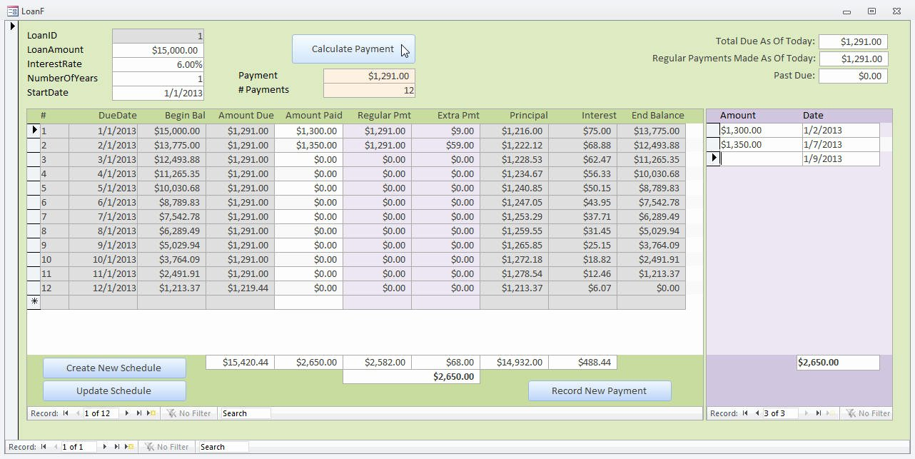 Microsoft Access Scheduling Template Luxury Microsoft Access Loan Amortization Template