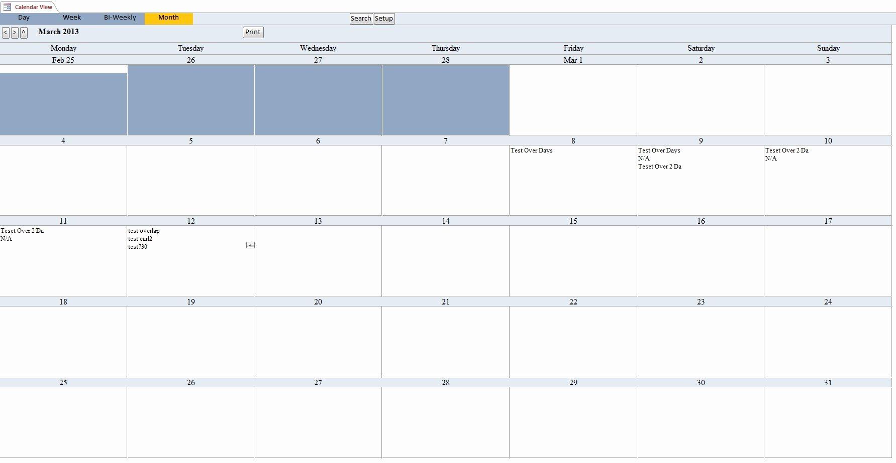 Microsoft Access Scheduling Template Unique Microsoft Access Calendar Template