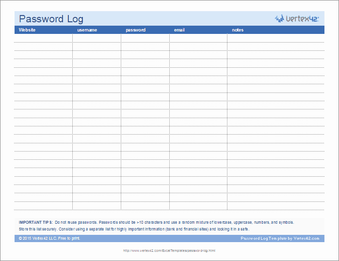 Microsoft Excel Password Template Fresh Password Log Template