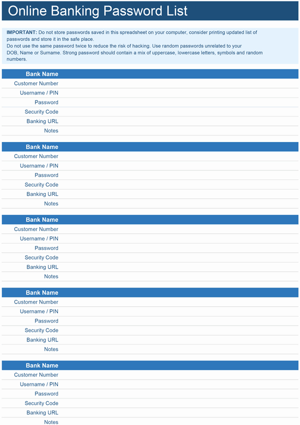 Microsoft Excel Password Template Inspirational Line Banking Password List Template for Excel