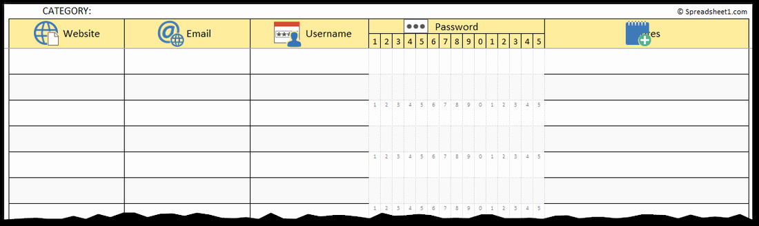 Microsoft Excel Password Template Lovely Password Keeper Spreadsheet Excel Spreadsheet Templates