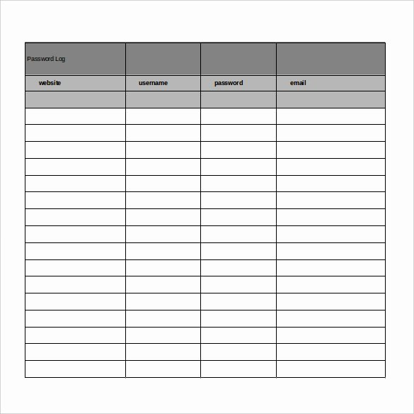 Microsoft Excel Password Template New 9 Sample Password Spreadsheet Templates Pdf Doc Excel