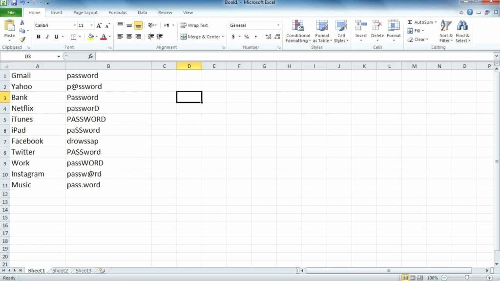 Microsoft Excel Password Template Unique Password Spreadsheet Spreadsheet Templates for Business