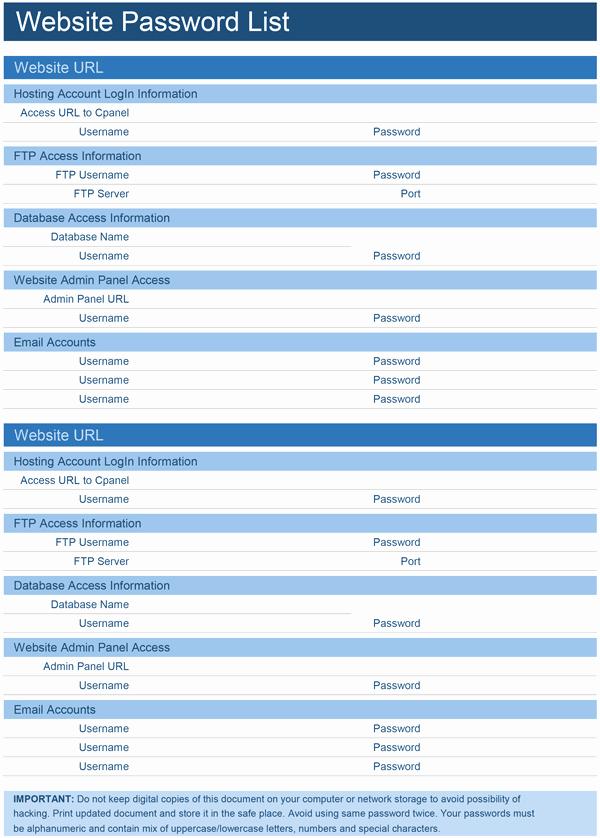 Microsoft Excel Password Template Unique Website Password List Template for Excel