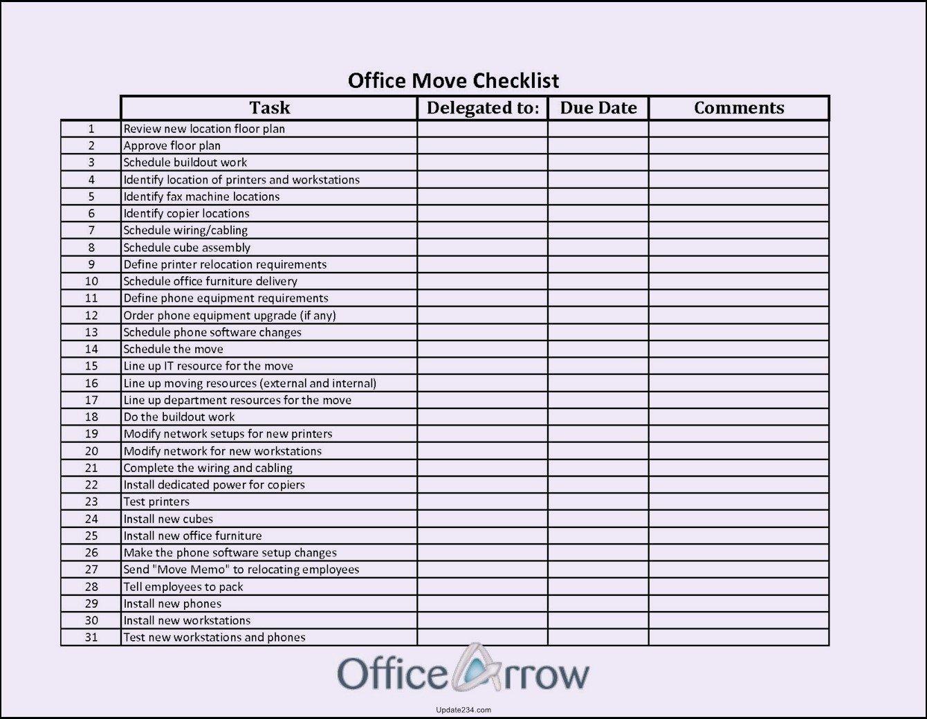 Microsoft Office Check Template Elegant Fice Move Checklist Template Excel Template Update234