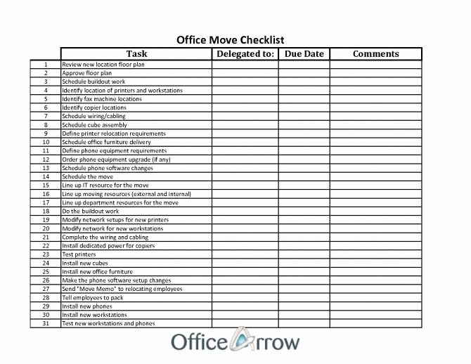 Microsoft Office Check Template New Fice Moving Checklist Cel Spreadsheet with Regard to