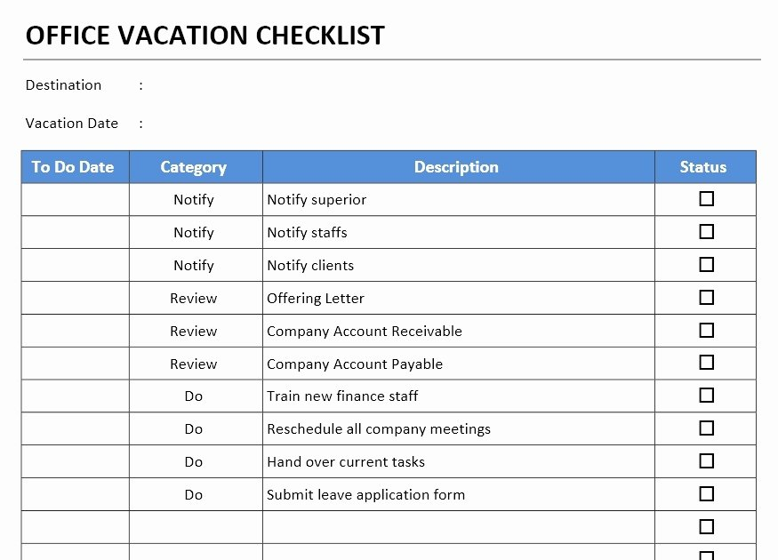 Microsoft Office Check Template New Fice Vacation Checklist Template