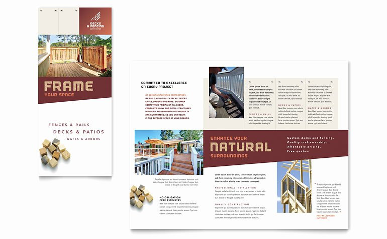 Microsoft Publisher Booklet Template New Decks & Fencing Brochure Template Word & Publisher