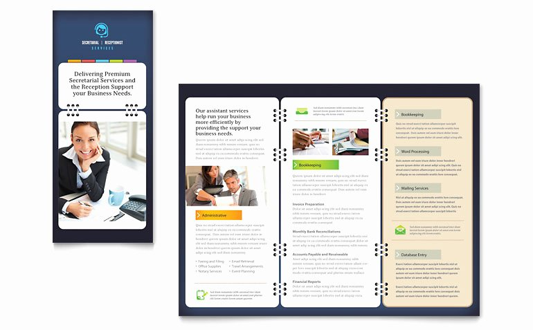 Microsoft Publisher Brochure Template New Secretarial Services Tri Fold Brochure Template Word