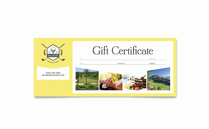 Microsoft Publisher Certificate Template Inspirational Golf Resort Gift Certificate Template Word & Publisher