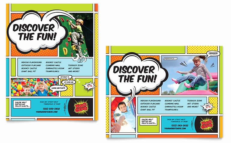 Microsoft Word Banner Template Unique Kids Club Poster Template Word & Publisher