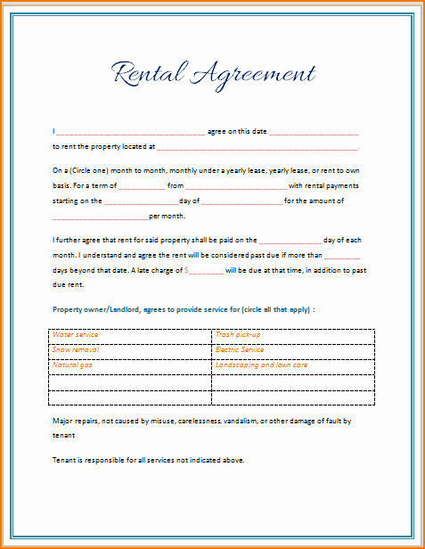Microsoft Word Contract Template Awesome 5 Rental Lease Agreement Template Word