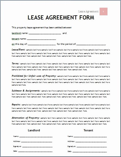Microsoft Word Contract Template Awesome Lease Agreement Template Beepmunk