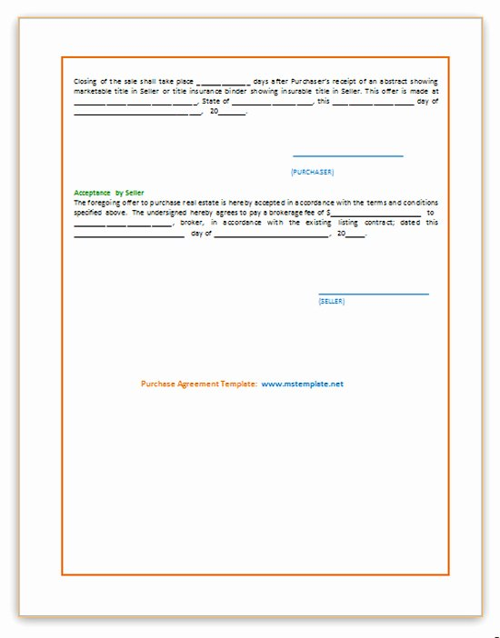 Microsoft Word Contract Template Best Of Purchase Agreement Template