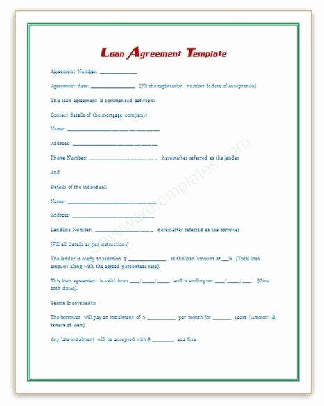 Microsoft Word Contract Template Elegant Loan Agreement Template
