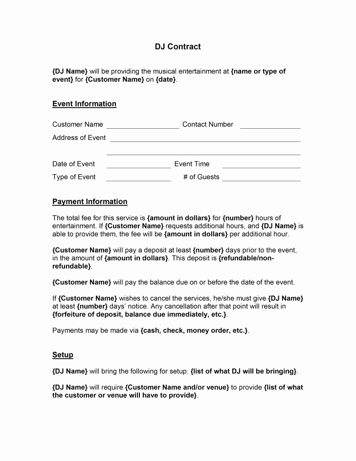 Microsoft Word Contract Template Inspirational Template Dj Contract Template