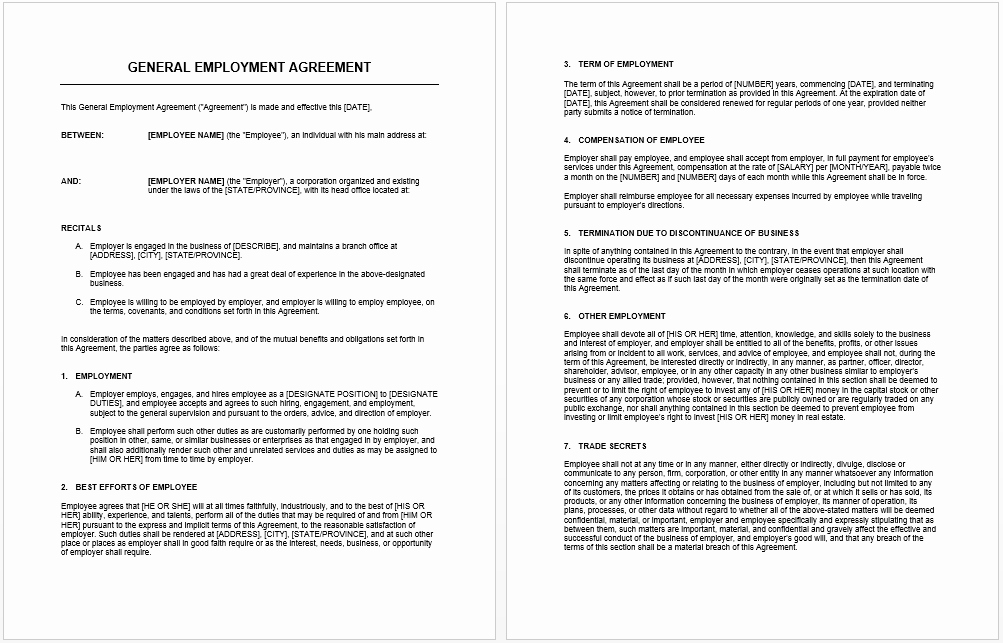 Microsoft Word Contract Template Luxury General Agreement Template Microsoft Word Templates